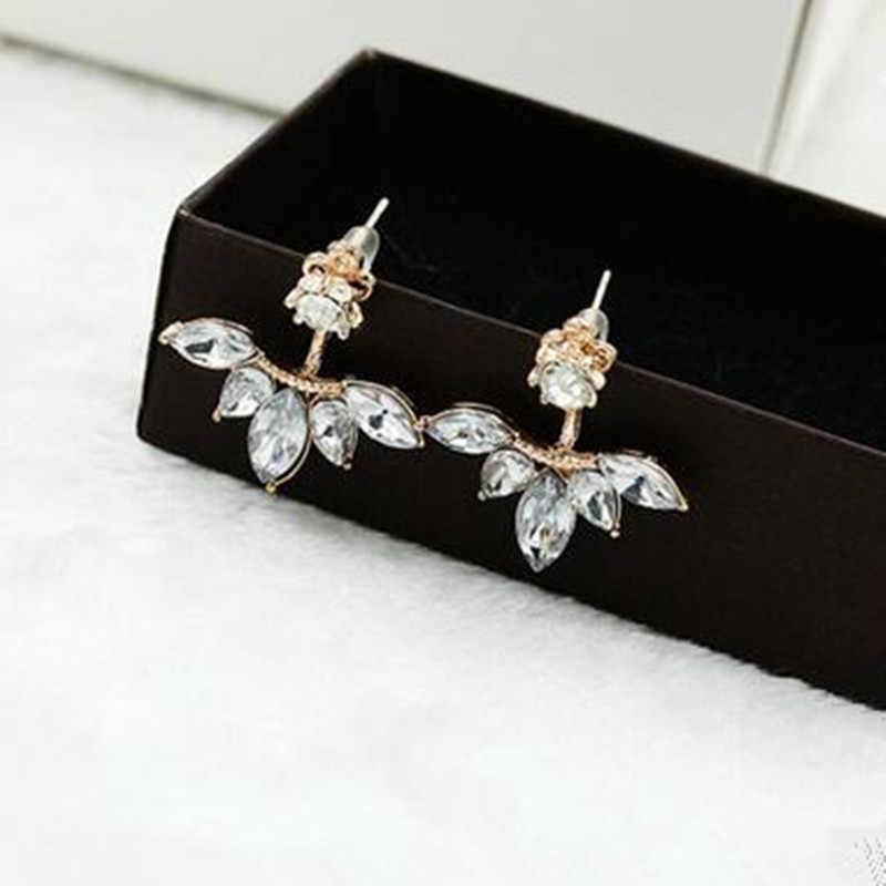 Korean version of the hot fashion fine wild horse eye zircon daisies up and down under the ear hanging earrings wholesale