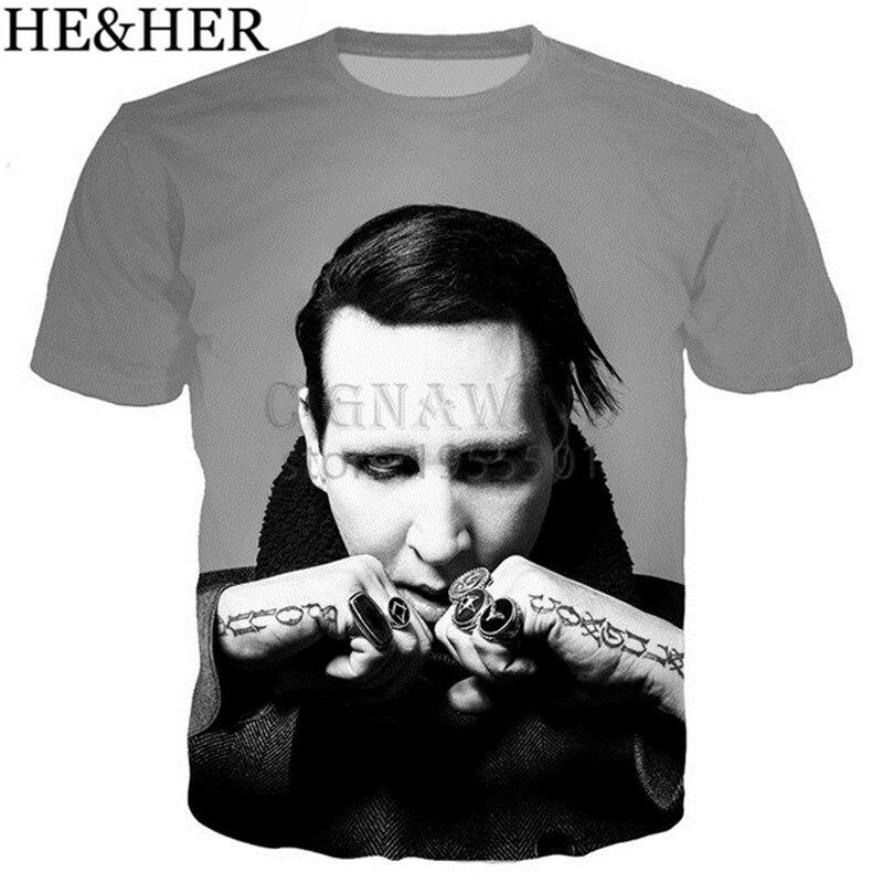 New Summer Tops Popular Singer Marilyn Manson T Shirt Men/women 3D Printed T-shirts Unisex Hip Hop Style Tshirt Streetwear
