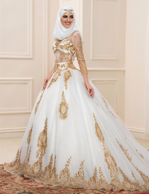 Plus Size Amazing White Wedding Dresses With Gold Lace Three Quarter Muslim Gowns 2017 Last