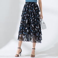 Women skirt Slim summer printing Elastic waist Chiffon High waist Fold skirt Women 8812