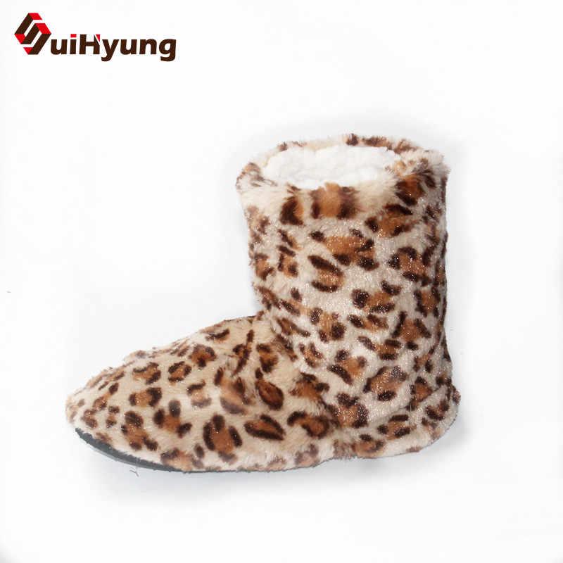 Suihyung Kış Kadın Akın Ev Botas Moda Leopar Sıcak Kapalı Ayakkabı Düz Pamuk Yastıklı Ayakkabı Kadın Yatak Odası Peluş Çizmeler