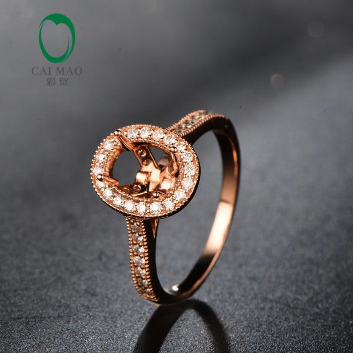 شحن مجاني 10 كيلو وارتفع الذهب 5×7 ملليمتر البيضاوي قص الماس الماس شبه جبل setting ring