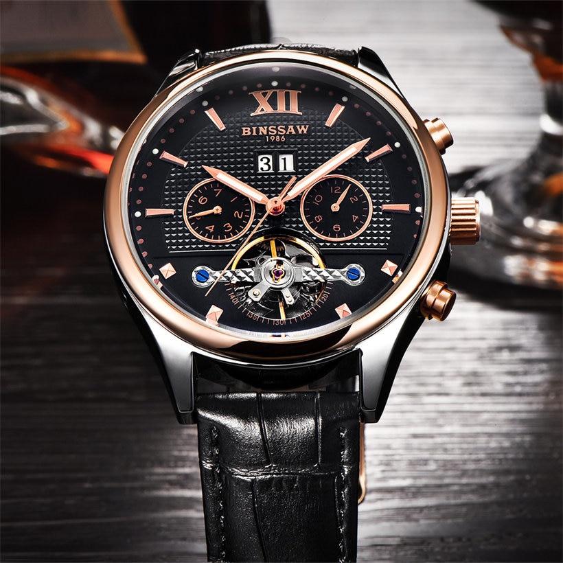 Binssaw Topmærke Luksus Mekaniske Armbåndsure til Mænd Natural Cow - Mænds ure - Foto 4