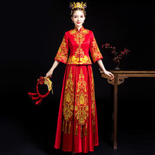 e06af6743c567 Robe traditionnelle Chinoise mariage rouge Qipao Cheongsam Satin Vintage  robes orientales longues robes de soirée femmes Robe .