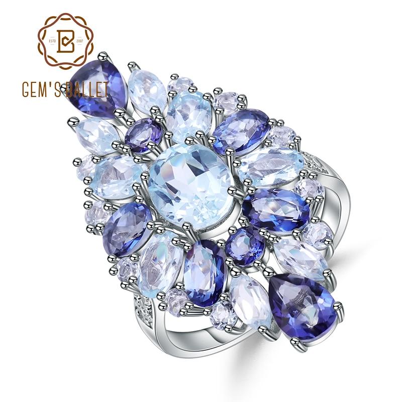 Gem s Ballet 925 Sterling Silver Gemstone Ring Multicolor Natural Sky Blue Topaz Mystic Quartz Cocktail