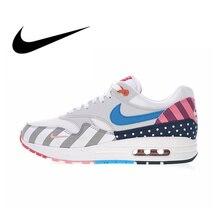 Оригинальный Nike Оригинальные кроссовки Air Max 1 Парра Белый Мульти Для мужчин кроссовки Одежда высшего качества спортивная Дизайнерская обувь 2018 Новый