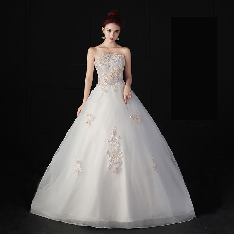 Wedding Dress  New Arrival Appliques Gelinlik  Embroidery Floor Length Lace Strapless Princess Wedding Gowns