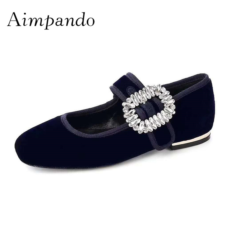 2019 Luxury Velvet Flat Shoes Woman Round Toe Rhinestone Flower Buckle Ballet Shoes Lady Fashion Casual