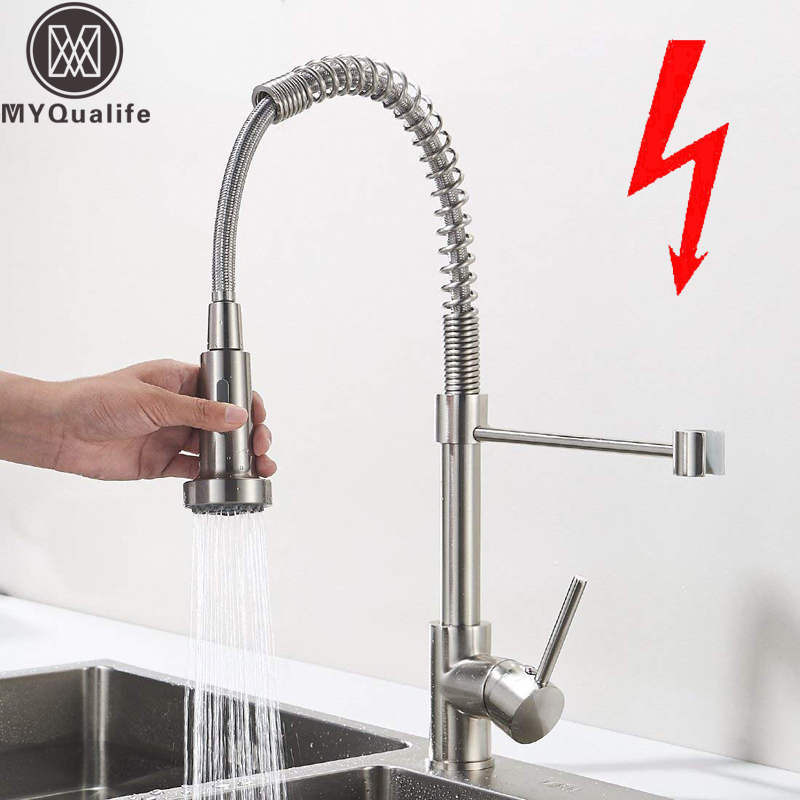 Low Pressure Kitchen Sink Mixer Tap Sink Tap Brushed 360 Degree Rotatable Kitchen Spring Mixer Tap Kitchen Sink Spray Faucet цена 2017