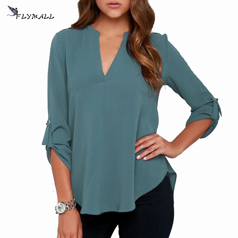 FLYMALL Plus Size 5XL 2017 Women's Loose Chiffon Blouses Autumn V Neck Half Sleeve Casual Shirt Women Pure Color Feminina Tops
