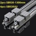 2 шт. SBR30-L 1300 мм линейная направляющая опорная рейка + 4 шт. SBR30UU линейные опорные блоки линейная рейка