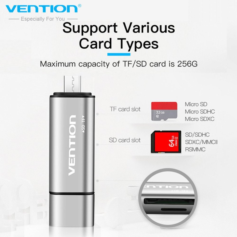 Vention Multifunctional USB2.0 Card Reader High Speed SD TF Card Reader With Type-C Micro-USB USB2.0 Interface OTG Card Reader