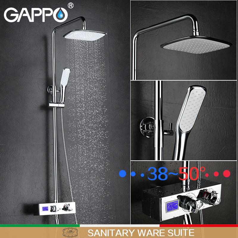 GAPPO shower faucets Digital Display shower mixers thermostatic waterfall shower bathtub mixer bathtub tap Sanitary Ware Suite