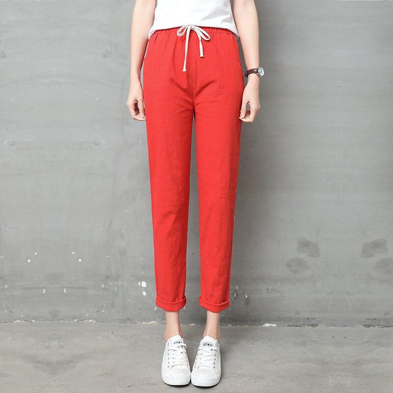 Women Pencil Pants Casual Harajuku Ankle Length Trousers Summer Autumn Plus Size Solid Elastic Waist Cotton Linen Pants Black