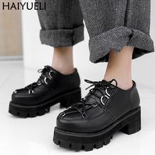 Black Thick Heel Oxfords Classic PU Leather Harajuku Goth Shoes British Style Lace Up Punk Shoes Vintage Creeper Platform Shoes