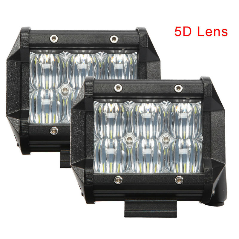 2pcs 4 inch 42W 5D LED Work Light SPOT FLOOD Beam for Jeep Off-road 4WD Boat SUV ATV Truck LED Light Bar foxstar 2 pcs set 3 9 inch 18w 4x4 off road led offroad light bar for truck boat atv suv spot beam 1440 lm ip67 universal