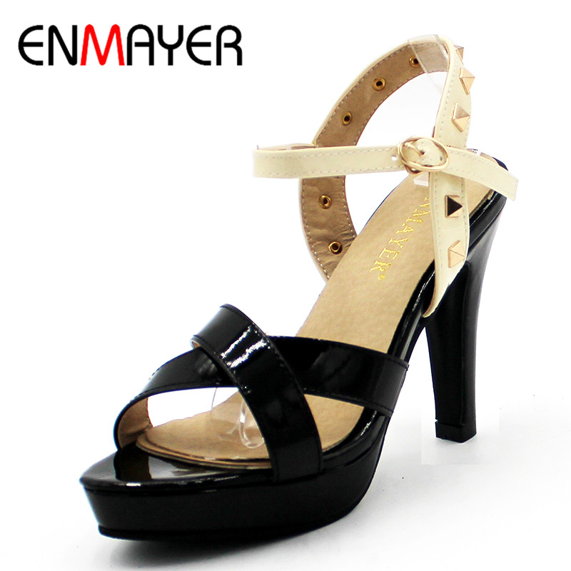 ENMAYER Shallow Summer Sandals Pumps Shoes Woman High Heels Ankle Strap Lady's Shoe Sexy Red Wedding Shoes Plus Size 34-43 enmayer cross tied shoes woman summer pumps plus size 35 46 sexy party wedding shoes high heels peep toe womens pumps shoe