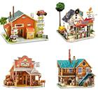 World Sights 3D Wooden House Puzzle American Series Children's Educational Puzzle Toy