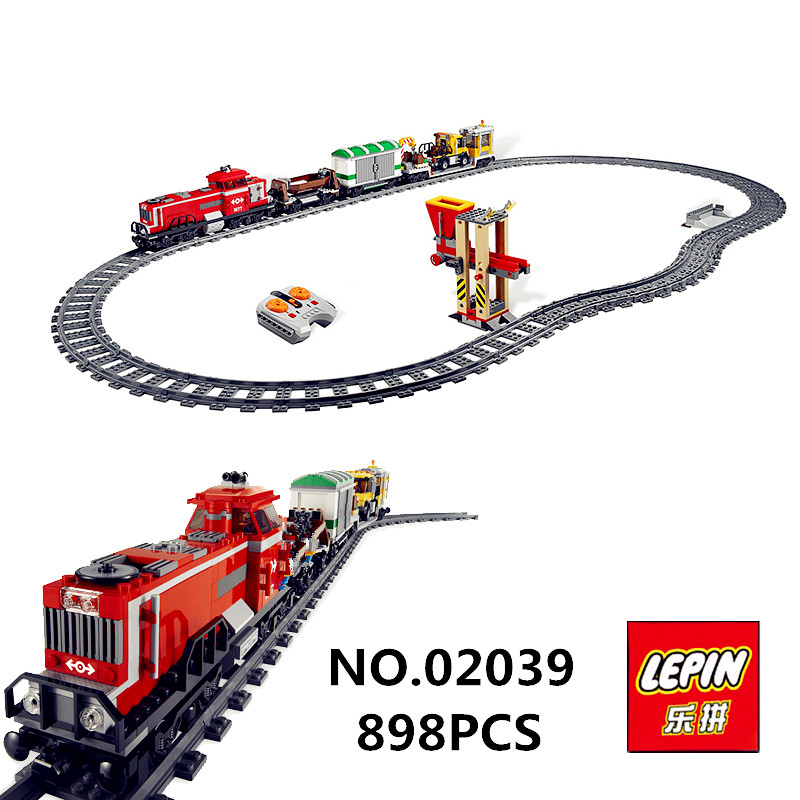 Red Cargo Train Set LEPIN 02039 898Pcs New City Series Children Building Blocks Brick Educational Children Toys Model Gifts 3677 superwit 72pcs big size city diy creative building blocks brick compatible with duplo sets lepin educational toys children gifts