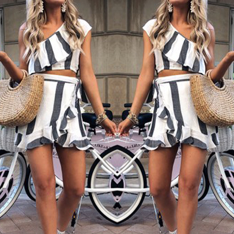 Edge-Dresses Printed Two-Piece Women's Stripe with Sleeveless Hollow Casual Lotus-Leaf