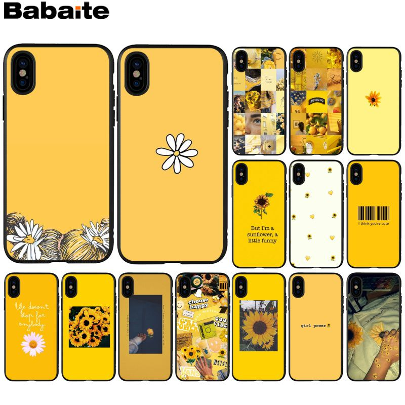 Babaite Yellow Sunflower Novelty Fundas Phone Case Cover for Apple iPhone 8 7 6 6S Plus X XS MAX 5 5S SE XR Cover