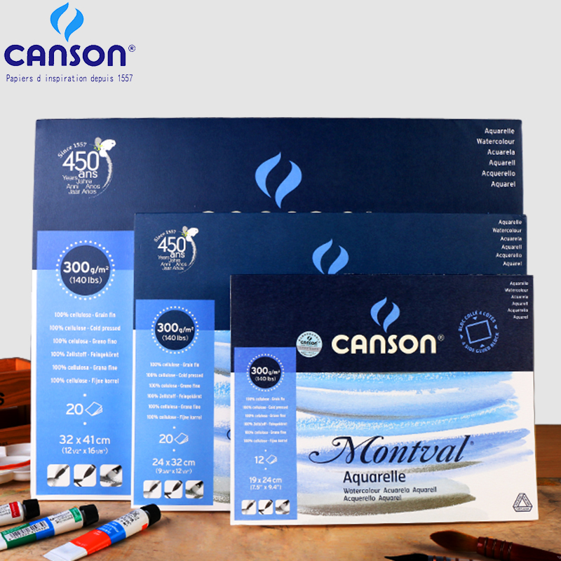 French Canson 300g/m2 Professional Watercolor Painting Paper 10/20Sheet Hand Painted Watercolor Paper Book Creative Art Supplies