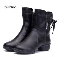 SWYIVY Women Dance Sneakers 2018 New Winter Warm Boots Plus Velvet Women Modern Dance Shoes Soft Heel Large Size43 Dance Sneaker