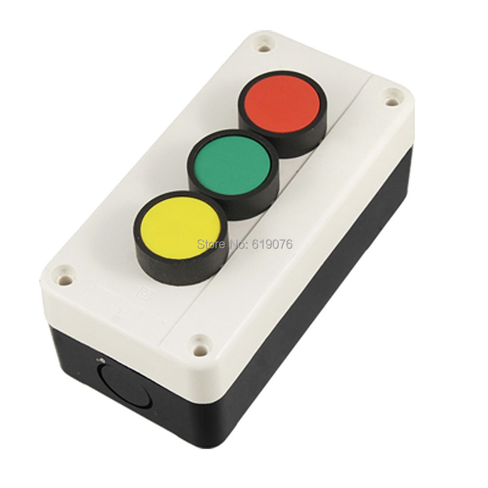 Green Red Yellow 3 Flat Push Button Momentary Switch Station green red yellow 3 flat push button momentary switch station