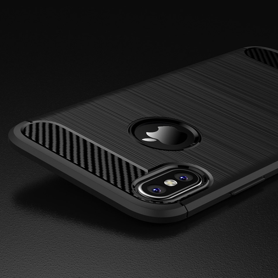 TOMKAS Phone Case Carbon Fiber Cover For iPhone XS Plus X 2018 5.8 6.1 6.5 Inch Soft TPU Silicon Case Protective Back Cover 2018 (21)