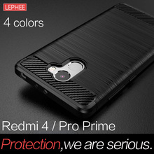 LEPHEE Xiaomi Redmi 4 Pro Case TPU Cover Xiaomi Redmi 4 Prime Cases Silicone Soft Carbon Fiber Full Cover Redmi 4 Global Version
