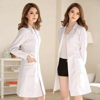 White Coat Short Sleeve Doctor Dress Female Doctor Dress White Coat Long Sleeve Men Slim Nurse Suit Clothes thin summer dress