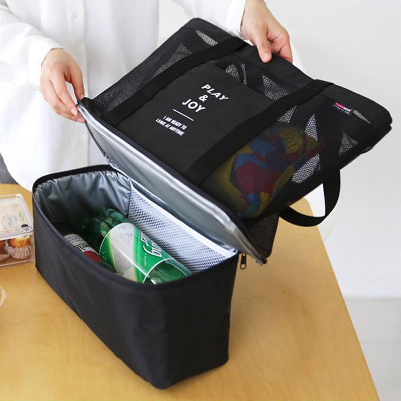 Portable Thermal Picnic Bags handbag for Women Adults Insulated Food Picnic Cooler Lunch Storage Bag Warm Keeping Lunch Box 2 layers family cooler bags thermal iced drink lunch box picnic food storage shoulder handbag pouch accessories supplies product