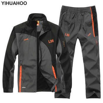Chándal de marca YIHUAHOO conjunto de ropa de dos piezas chaqueta Casual + Pantalones 2 piezas chándal ropa deportiva hombre LB1601