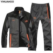 YIHUAHOO ยี่ห้อ Tracksuit ผู้ชาย 2 ชิ้นชุดสบายๆเสื้อ + กางเกง 2PCS ชุดสูทกีฬา Sweatsuits Man LB1601