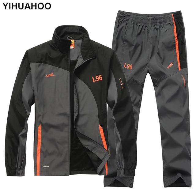 YIHUAHOO marca chándal hombres de dos piezas conjuntos de ropa Casual  chaqueta + Pantalones 2 unids b0ef9045a2a4