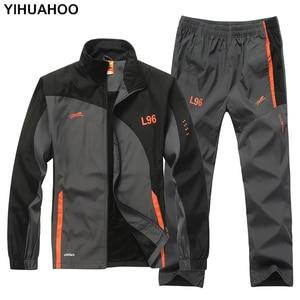 Image 1 - YIHUAHOO ماركة رياضية الرجال قطعتين مجموعة ملابس عادية سترة السراويل 2 قطعة بذلة رياضية رياضية sweatsuit رجل LB1601