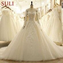SL-7815 Vintage Sayang Handmade Bunga Lengan Pendek Lace Wedding Dresses 2017