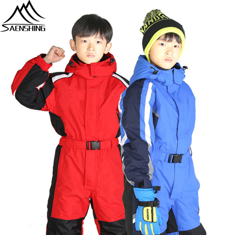 276e0cd30 New Children's Skiing Suits Kids One Piece Waterproof Outdoor Ski Suit  Super Warm Wear-Resistant Snowboarding Suits XS-XL