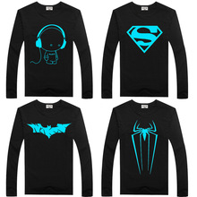 Luminous Long Sleeve T-Shirt For Boys T Shirt Batman Christmas Teen Girl Tops Size 2 3 4 5 6 7 years Teenage Toddler Boy Tshirts
