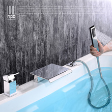 HPB Contemporary brass 3 functions hot and cold waterfall bath shower bathroom pull out faucets with handshower HP5307