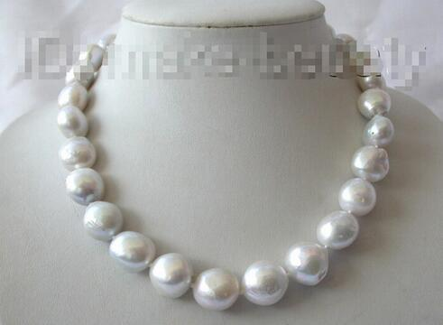 Free shipping> stunning large 16mm baroque white gray Reborn Freshwater cows Pearl necklace B601Free shipping> stunning large 16mm baroque white gray Reborn Freshwater cows Pearl necklace B601