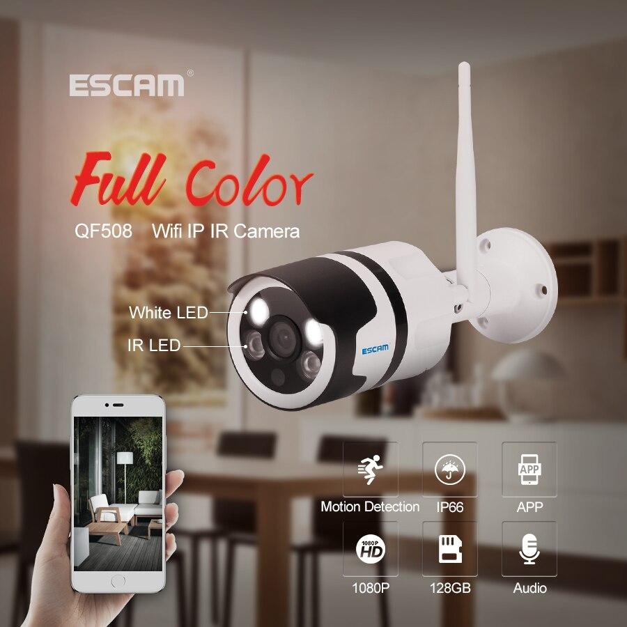 ESCAM QF508 caméra IP HD 1080 P 2MP étanche extérieure couleur vision nocturne caméra de sécurité caméra Bulllet infrarouge YOOSEE