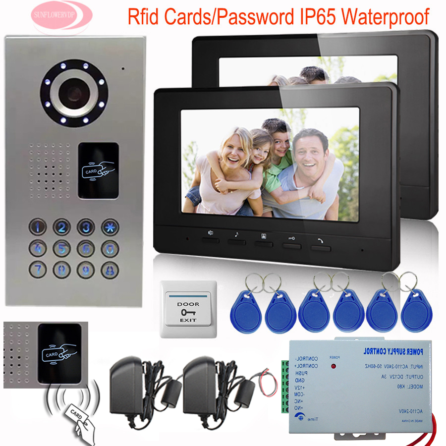 SUNFLOWERVDP 7'' TFT LCD Monitor Door Bell Camera Intercom Inductive Card Video Door Phone Night Vision IP65 Waterproof Diy Kit sunflowervdp wired video door phone 7inch tft color lcd inner door bell fingerprint code unlock touch button intercom video kit