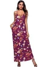 ФОТО leezeshaw sexy spaghetti strap sleeveless v neck floral print dress boho beach a-line long dress with pocket party 2018 vestidos