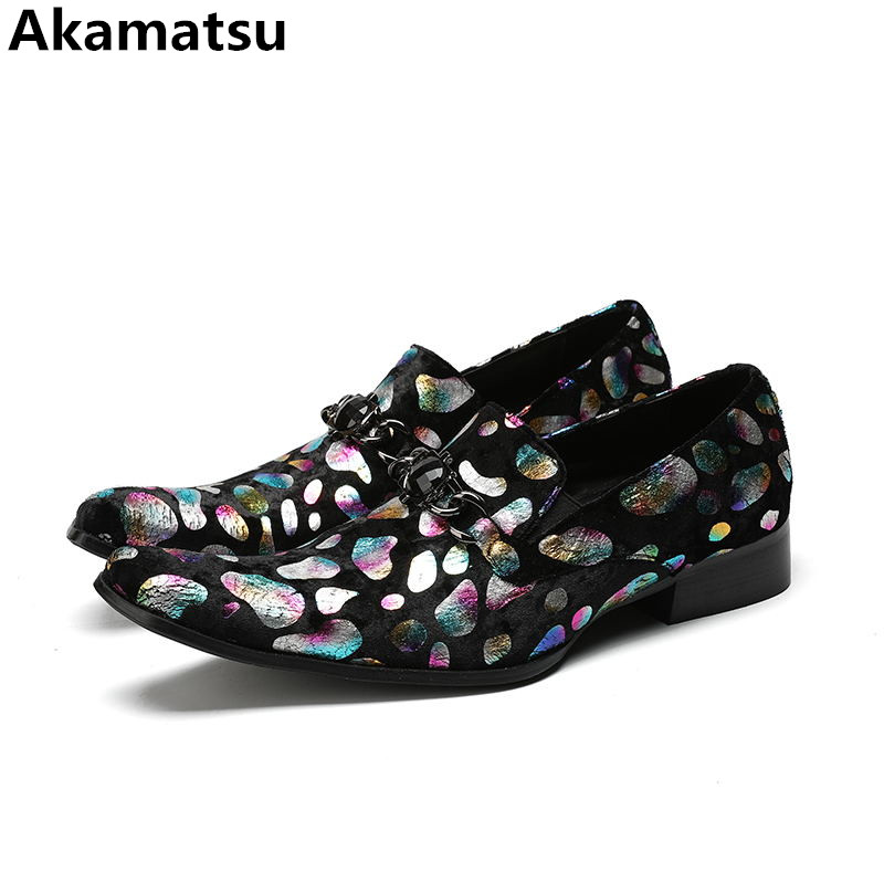 mixed candy color retro gloral print mens dress shoes genuine leather party wedding loafers italian slip on velvet slippers plus self tie mixed print cami dress
