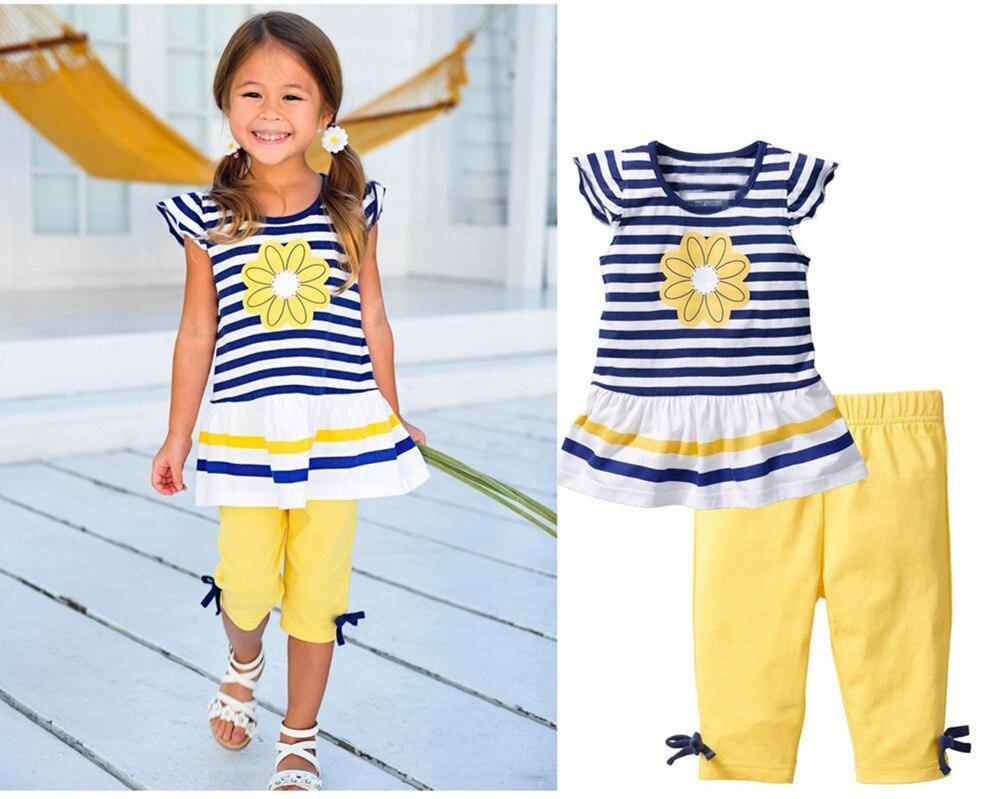 New Girls Clothing Sets Baby Kids Clothes Suit Children Striped T-Shirt +Pants roupas infantil meninas