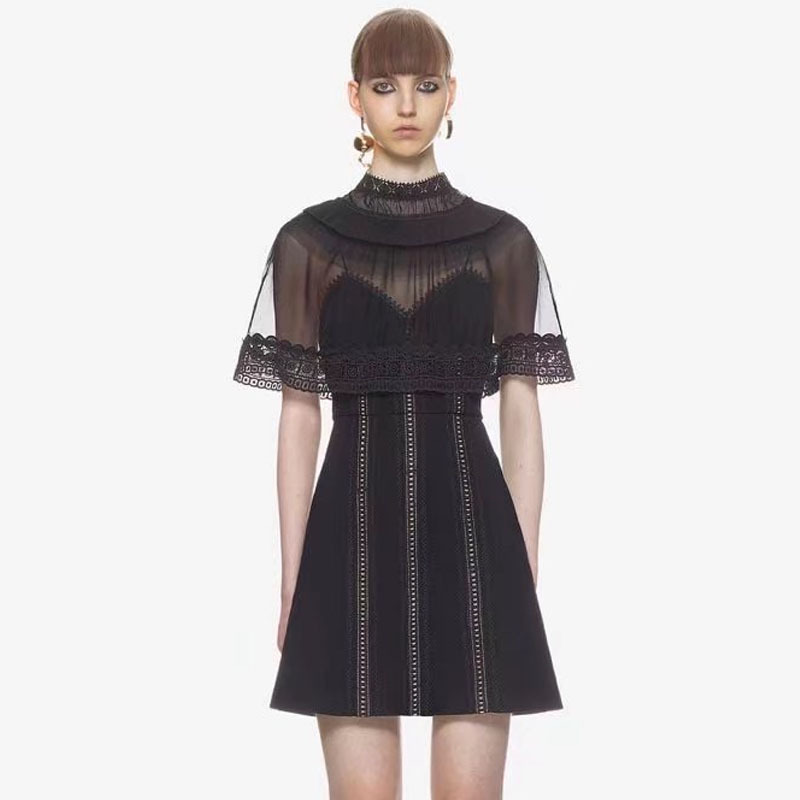 See Through Black Lace Dress Woman Cloak Style Sexy Backless Spring Summer Short Party Dresses Female