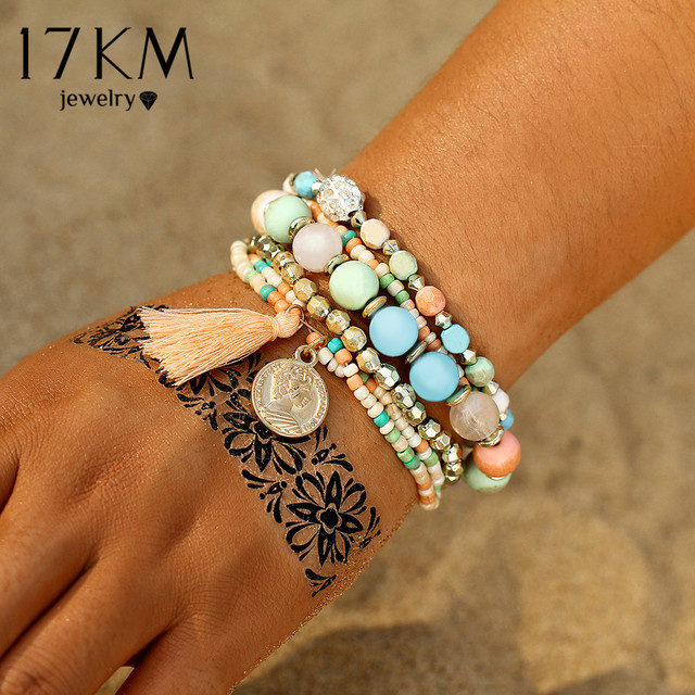 17KM Crystal Multicolor Beads Weave Tassel Bracelet Multilayer Coin Bracelets For Women 2018 New Punk Pulseira Accessories Gift