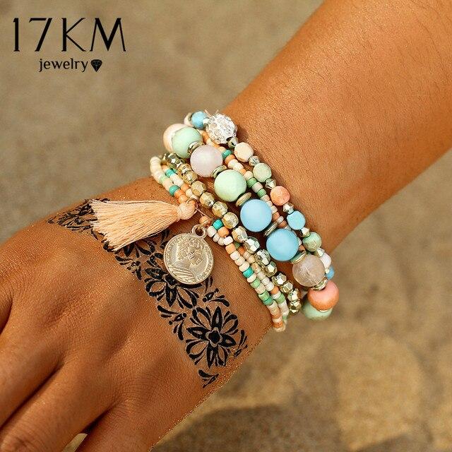 17KM Crystal Multicolor Beads Weave Tassel Bracelet Multilayer Coin Bracelets Fo