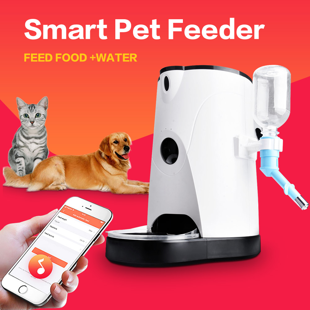 Famirosa 4L Automatique Pet Feeder Téléphone APP Commande À Distance Chat Chien D'eau et Alimentaire Automatique Pet Feeder Pour Toutes Les Saisons